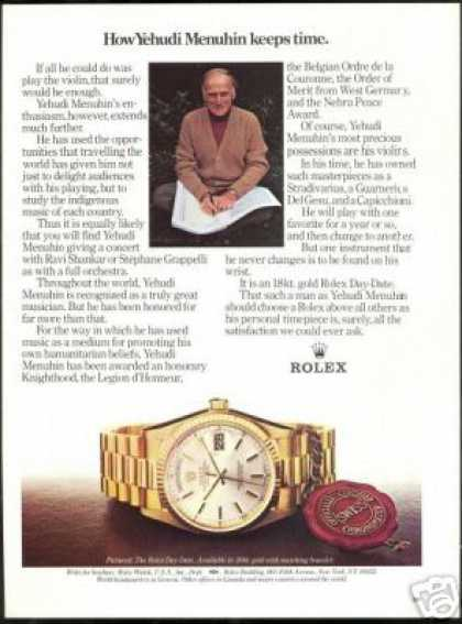 Yehudi Menuhin Photo Vintage Rolex Watch (1984)