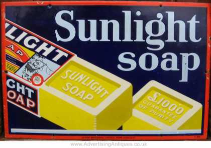Sunlight Soap Bars Enamel Sign
