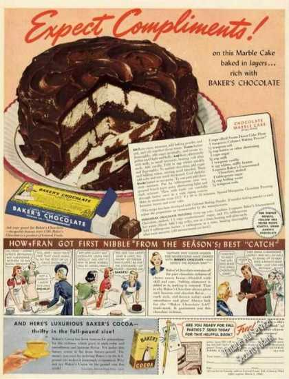 Baker's Chocolate Marble Cake Recipe (1939)