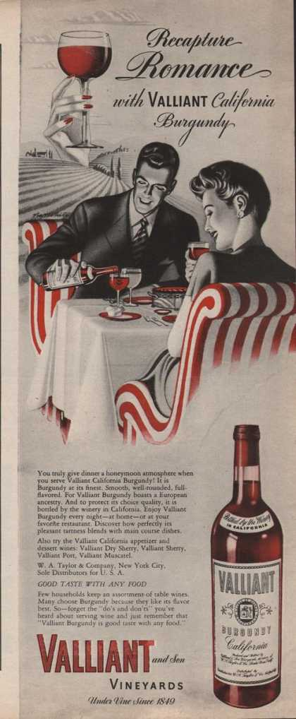 Valliant Burgundy California Wine (1942)