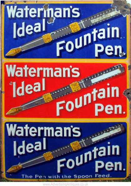 Waterman's Fountain Pens Old Sign