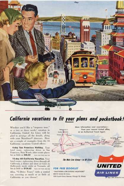 United Airlines San Francisco Trolley Ad T (1954)