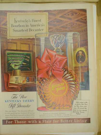 Kentucky Tavern gift decanter Bourbon. (1953)