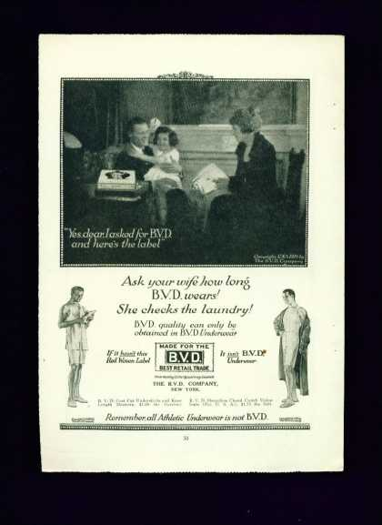 Bvd Underwear Ad Here's the Label Men In Underwear (1919)