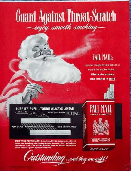 Pall Mall Cigarette Santa Blowing Smoke Enjoy (1950)