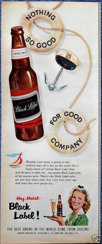 Black Label Beer Anchor Captain Hat Life Preserver (1956)