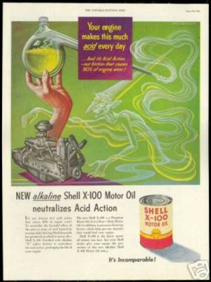 Shell Care Engine Oil Artzybasheff Art Vintage (1951)