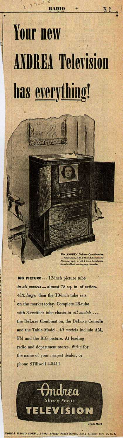 Andrea Radio Corporation's Andrea DeLuxe Combination – Your new Andrea Television has everything (1948)