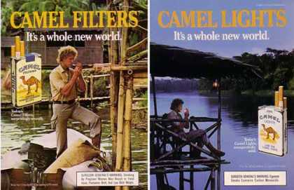 Camel Cigarettes Ads – Set of 2 River Adventure Ads (1985)