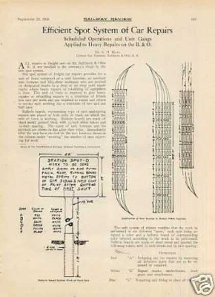 """Efficient Spot System of Car Repairs"" Article/b&o (1926)"