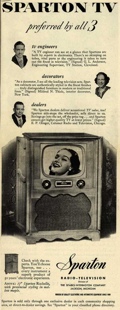 Sparton Radio-Television's Television – Sparton TV preferred by all 3 (1951)