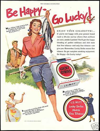 Lucky Strike Cigarettes Pretty Fisherman Woman (1951)
