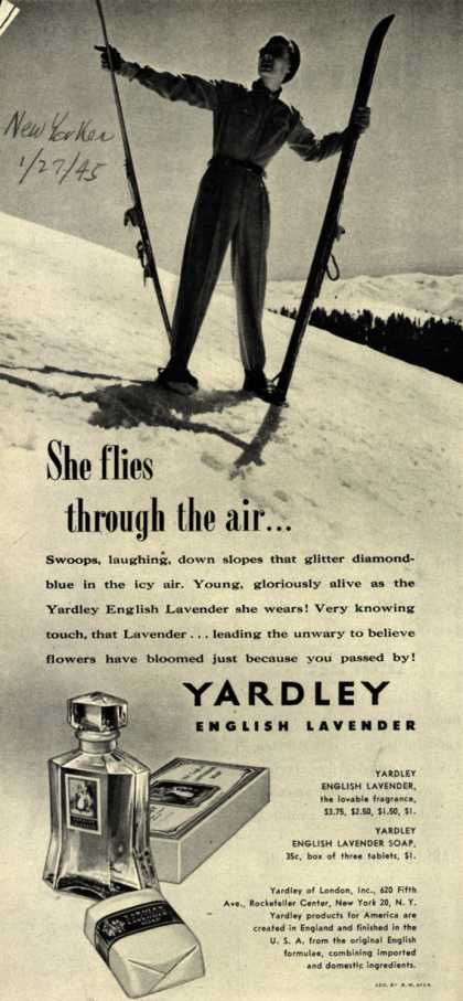 Yardley of London's English Lavender Cosmetics – She flies through the air... (1945)