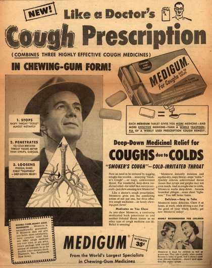 Pharmaco&#8217;s Medigum &#8211; New! Like a Doctor&#8217;s Cough Prescription (1954)
