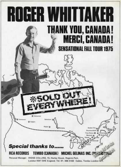 Roger Whittaker Photo Ad Thank You Canada (1976)