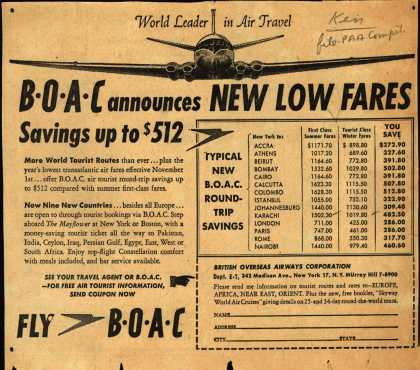British Overseas Airways Corporation – BOAC announces NEW LOW FARES Savings up to $512 (1954)