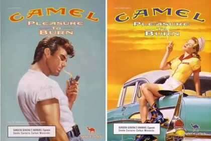 Camel Pleasure To Burn Ads – Set of 2 50's Ads (2000)