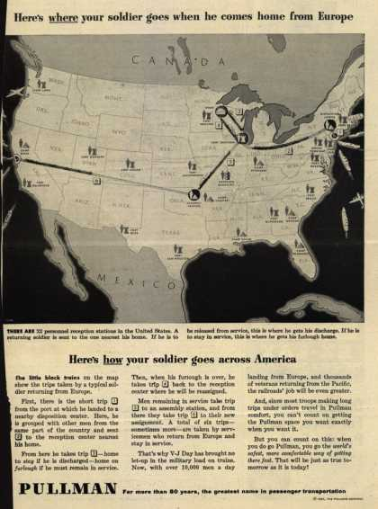 Pullman Company – Here's where your soldier goes when he comes home from Europe (1945)