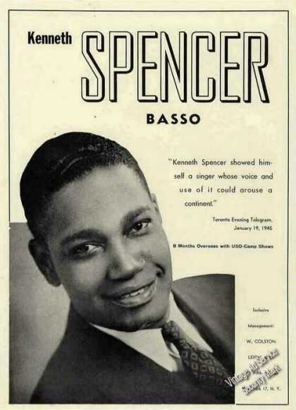 Kenneth Spencer Photo Basso Collectible Booking (1945)