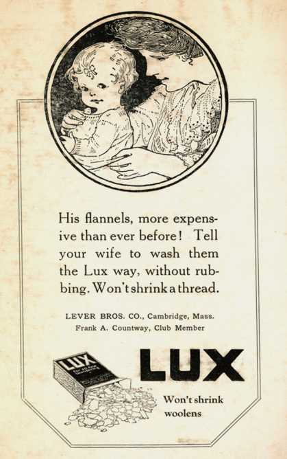 Lever Bros.'s Lux (laundry flakes) – His flannels, more expensive than ever before!... (1918)