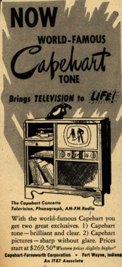Capehart-Farnsworth Corporation's The Capehart Concerto Television Combination – Now World-Famous Capehart Tone Brings Television to Life (1949)