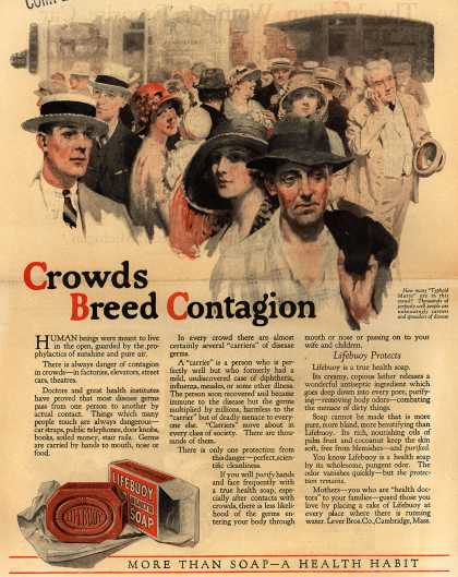 Lever Brothers Company's Lifebuoy Health Soap – Crowds Breed Contagion (1923)