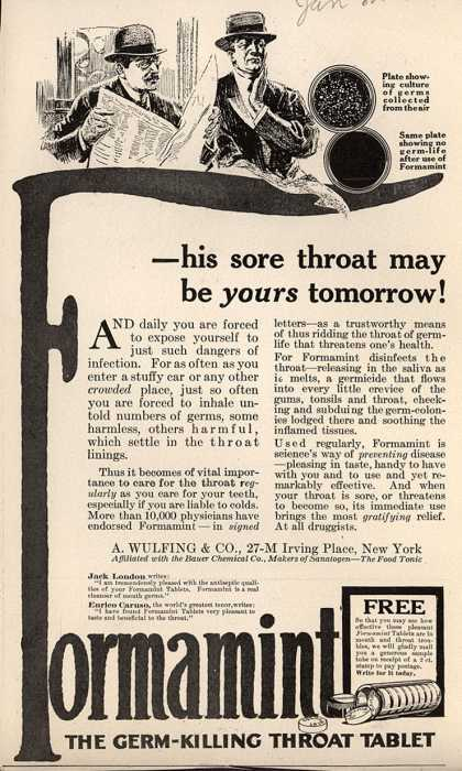 A. Wulfing & Company's Wulfing's Formamint – -his sore throat may be yours tomorrow (1915)