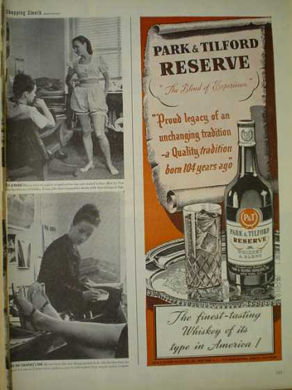 Park and Tilford reserve. Finest Whiskey (1945)