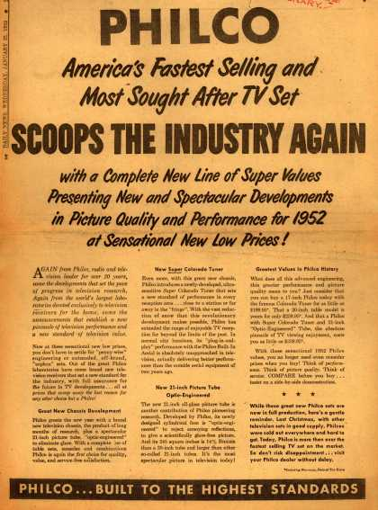 Philco's corporate ad – Philco Scoops The Industry Again (1952)