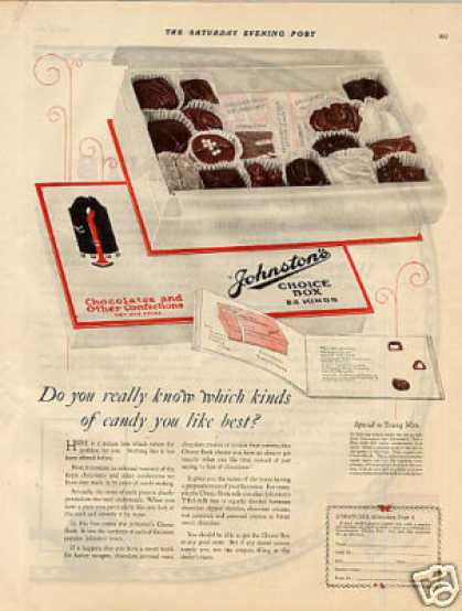 Johnston's Chocolate Candy Color (1923)
