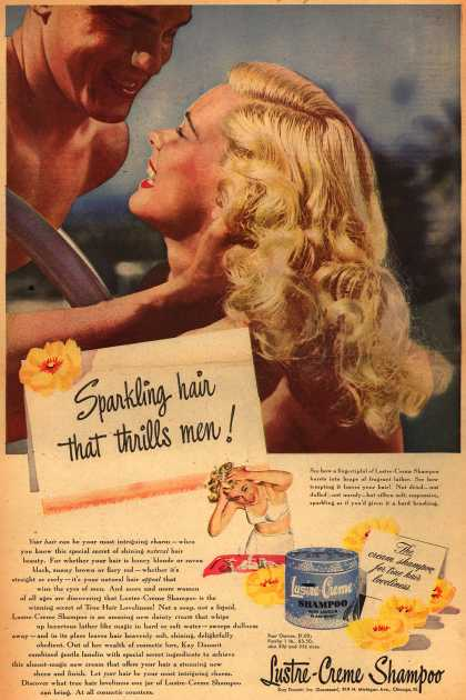 Kay Daumit's Lustre-Creme Shampoo – Sparkling hair that thrills men (1947)
