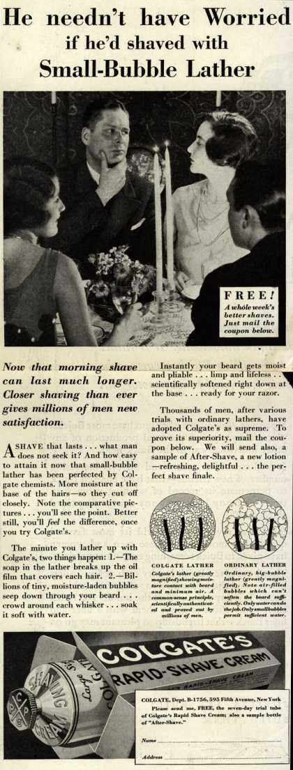 Colgate & Company's Colgate's Rapid-Shave Cream – He needn't have Worried if he'd shaved with Small-Bubble Lather (1929)