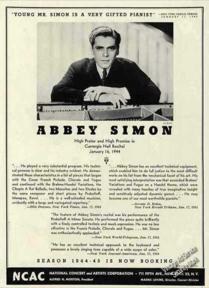 Abbey Simon Photo Pianist Collectible Booking (1944)