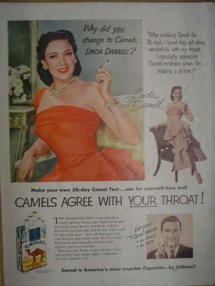 Camel Cigarettes. Linda Darnell. Camels agree with your throat (1952)