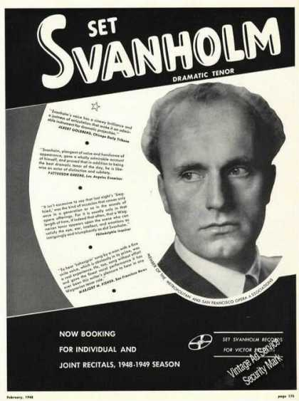 Set Svanholm Photo Opera Rare Ad Music (1948)
