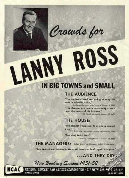 Lanny Ross Photo Collectible Music (1951)