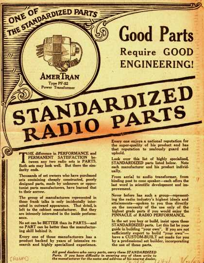 Variou's Standardized Radio Parts – Good Parts Require Good Engineering! Standardized Radio Parts. (1927)