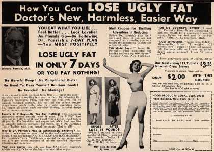 Hood Products Corporation's Dr. Parrish's Tasty Tablet Plan – Now You Can Lose Ugly Fat Doctor's New, Harmless, Easier Way (1952)