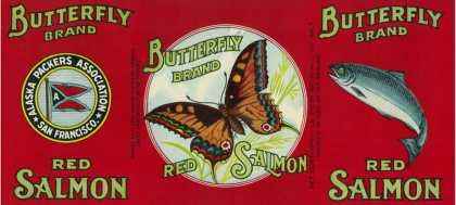 Butterfly Salmon Can Label – San Francisco, CA