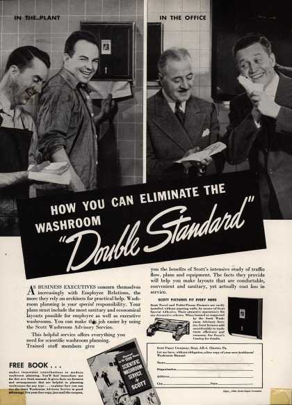 "Scott Paper Company's Scott Washroom Advisory Service – How You Can Eliminate The Washroom ""Double Standard"" (1940)"