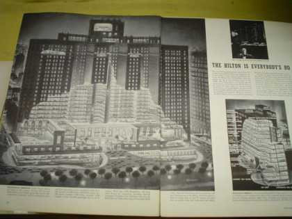 The Hilton Hotel Chicago. Building layout cutaway (1952)