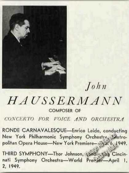 John Haussermann Composer/pianis (1949)
