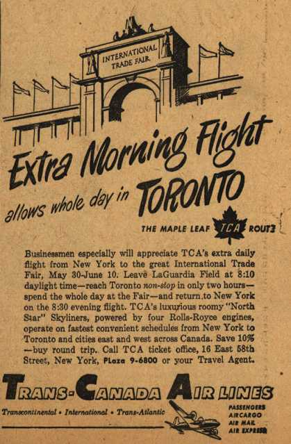 Trans-Canada Air Line's International Trade Fair – Extra Morning Flight allows whole day in Toronto (1949)