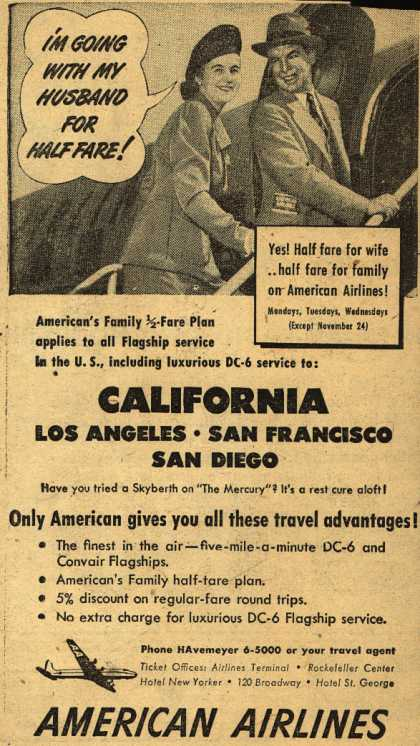 American Airline's Half Fare Plan to California – I'm Going With My Husband For Half Fare (1948)