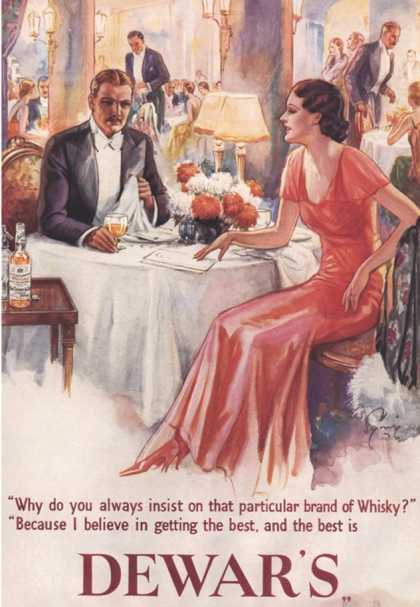 Dewar's, Whiskey Alcohol Dinners, UK (1930)