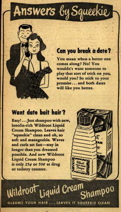 Wildroot Company's Wildroot Liquid Cream Shampoo – Answers by Squeekie (1949)