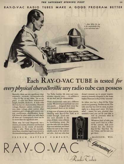 French Battery Company's Radio Tubes – Ray-O-Vac Radio Tubes Make A Good Program Better (1929)