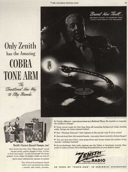 Zenith Radio Corporation's Radio-Phonograph – Only Zenith has the Amazing COBRA TONE ARM The Sensational New Way to Play Records (1946)