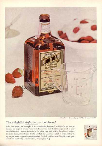 Cointreau Liqueur Strawberries Romanoff Bottle (1963)