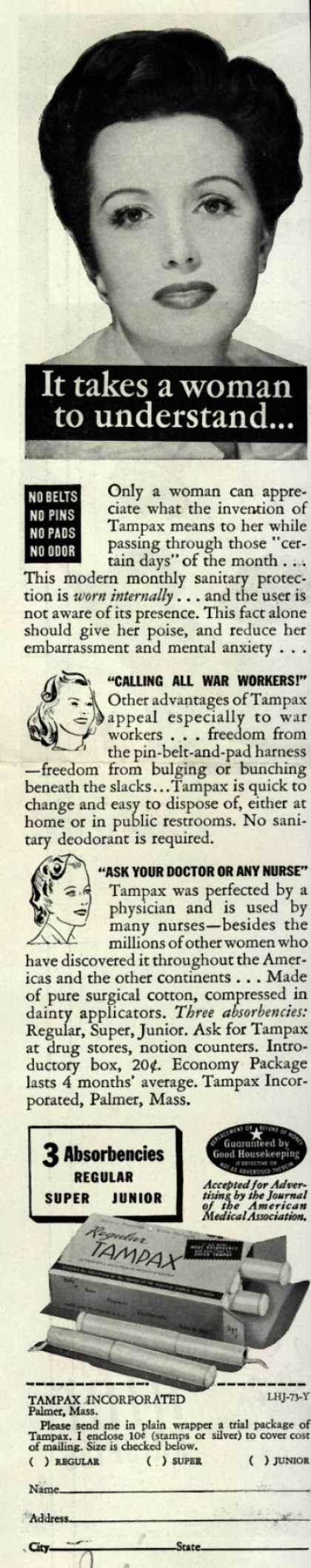 Tampax's Tampons – It takes a woman to understand... (1943)